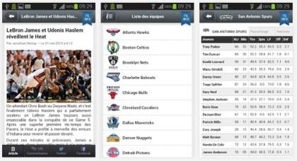 D'autres copies d'écran de l'application